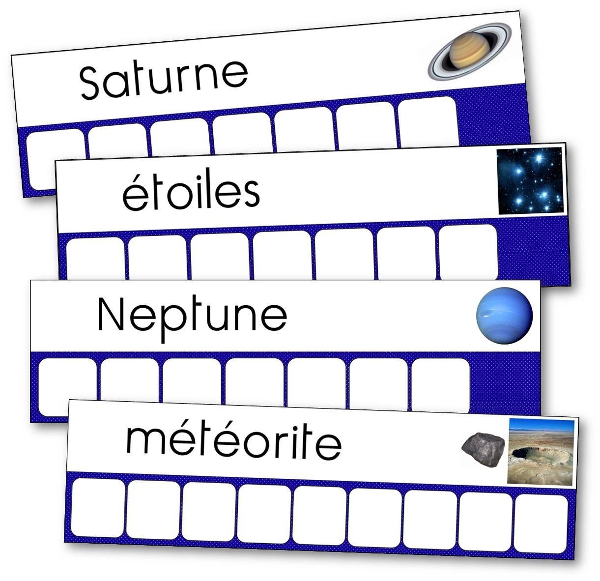 Atelier des mots sur la conquête spatiale, l'espace et l'Univers, atelier des mots espace