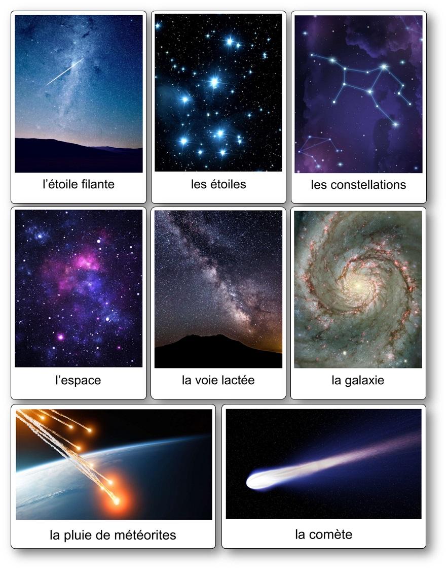 Cartes nomenclatures imagier espace Observation des étoile et de l'univers