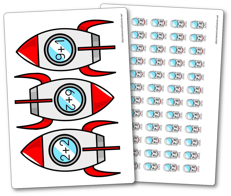 jeu pour s'initier à l'addition en maternelle astronautes et fusées