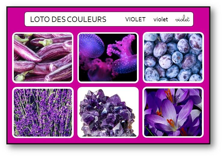 Bingo des couleurs à imprimer gratuit violet