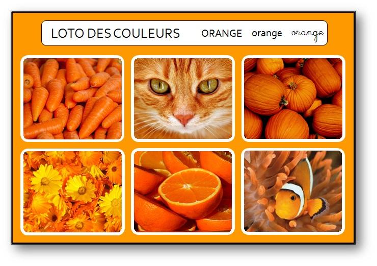 Bingo des couleurs français orange