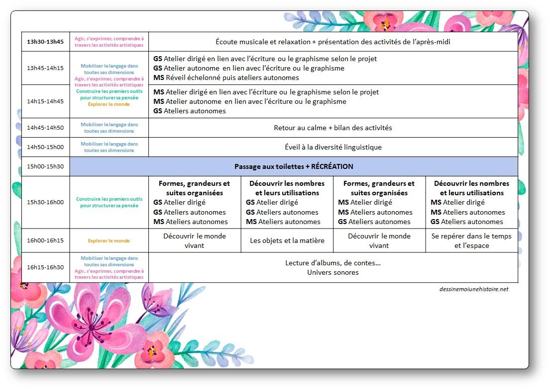 Emploi du temps maternelle moyenne grande section MS-GS affichage pdf