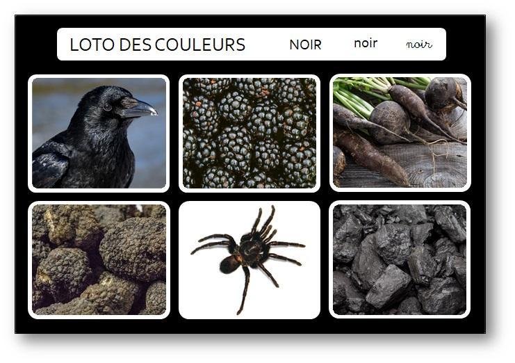 Jeu de loto pédagogie Montessori des couleurs noir