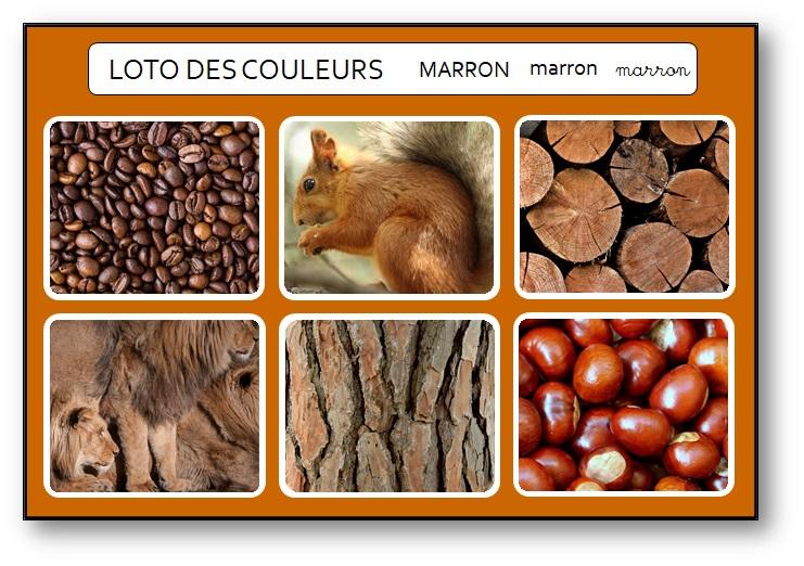 Jeu pour apprendre les noms des couleurs en maternelle marron