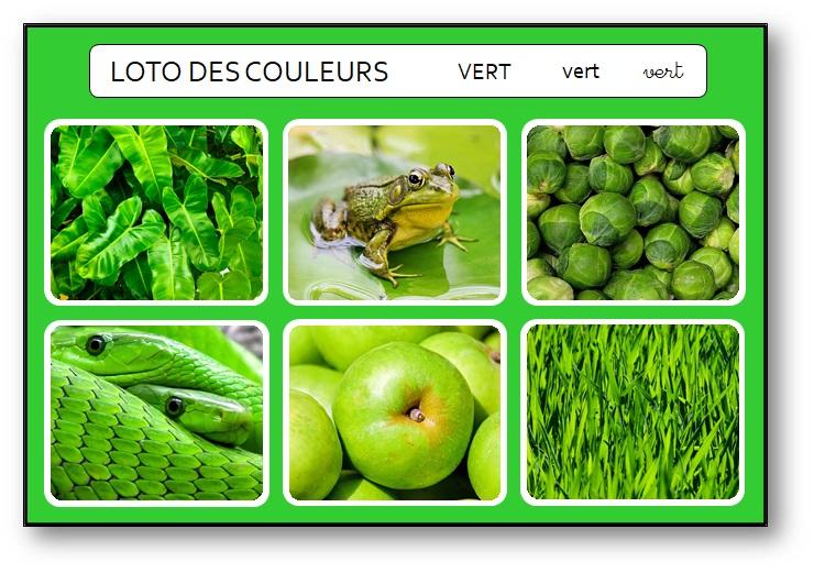Loto des couleurs à imprimer au format pdf vert