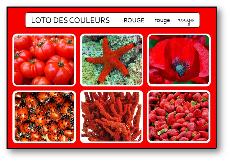 Loto des couleurs gratuit pdf rouge