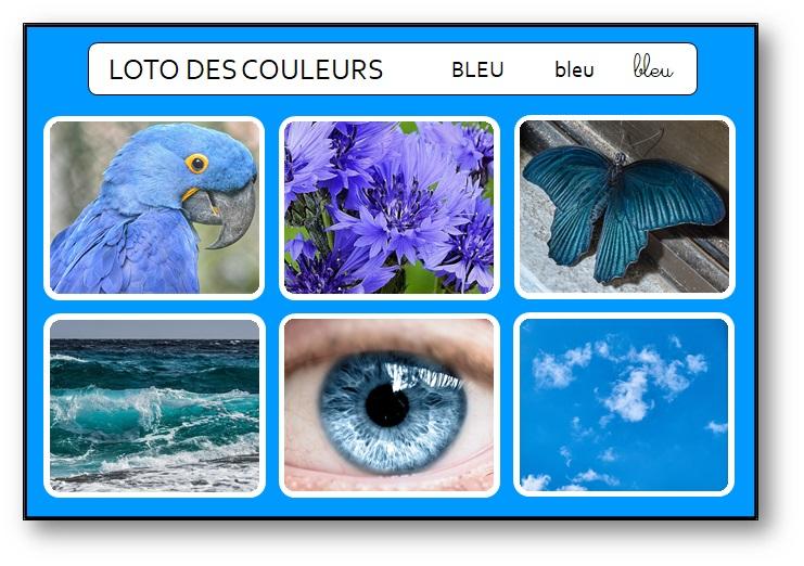 Loto des couleurs maternelle Montessori bleu