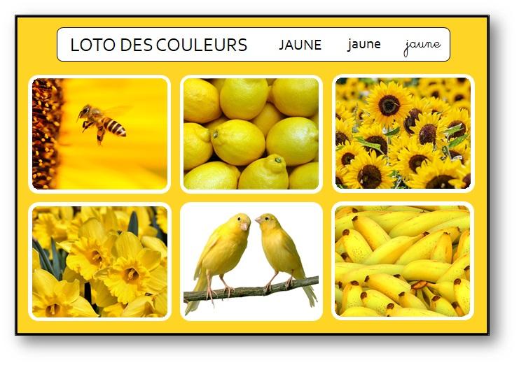 Loto des couleurs maternelle à télécharger jaune