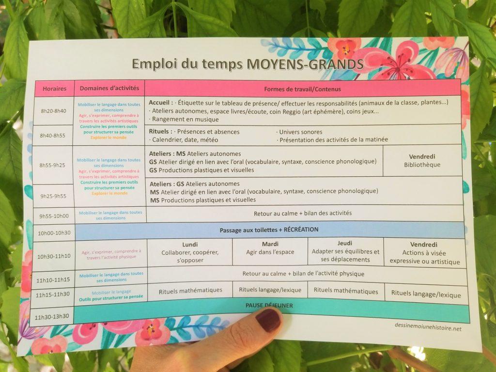 Emploi du temps moyens-grands à imprimer maternelle